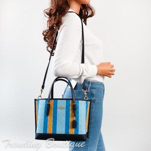 NWT Coach C4086 Mollie Tote 25 in Signature Jacquard with Stripes Blue/Yellow